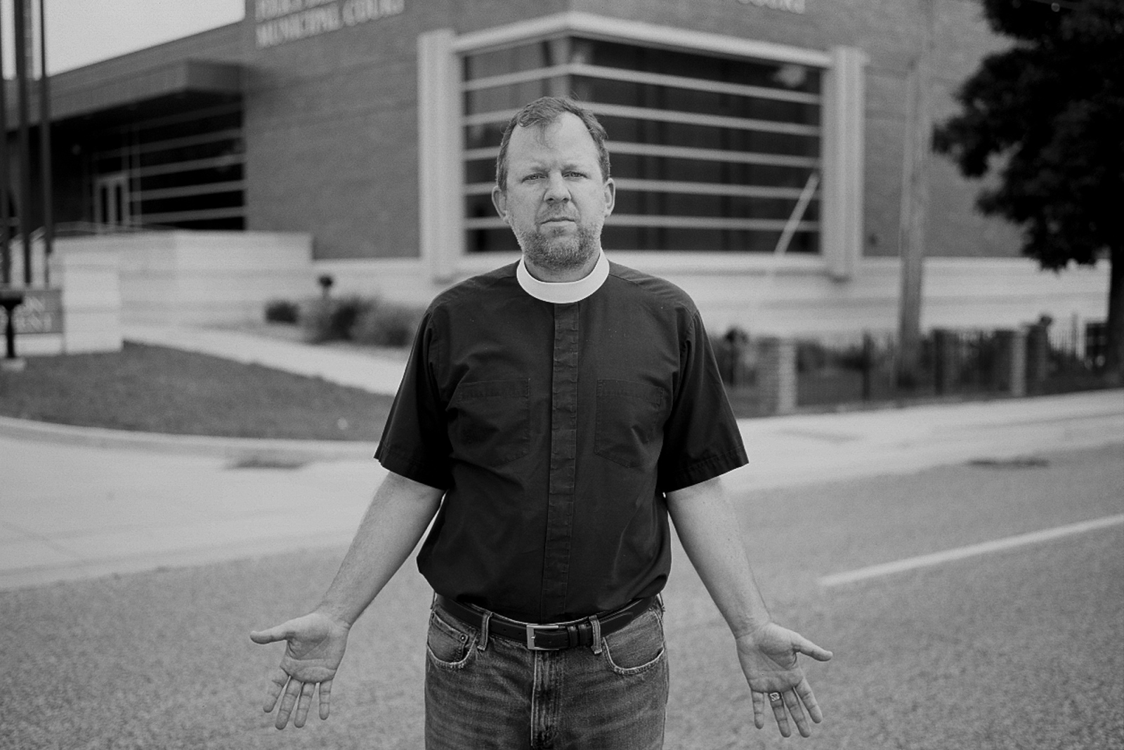 Mike Kinman in front of the Ferguson Police Station.