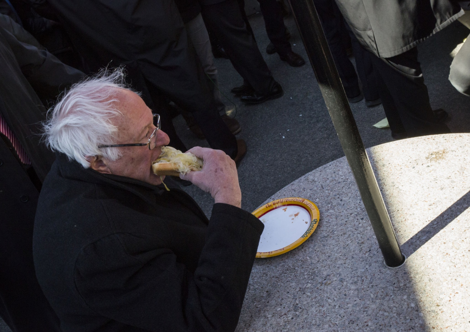 Bernie Sanders having a Nathan's Famous after his Coney Island rally,Coney Island, Brooklyn. April 10, 2016, Kevin C. Downs/Cosmos