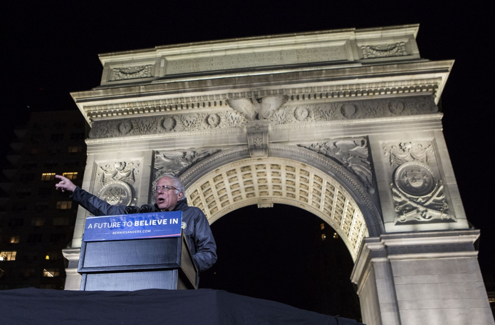 Democratic presidential candidate Bernie Sanders speaks at his campaign rally in Washington Square Park, on the eve of the New York primary, April 13, 2016. in Manhattan, Kevin C. Downs/Cosmos