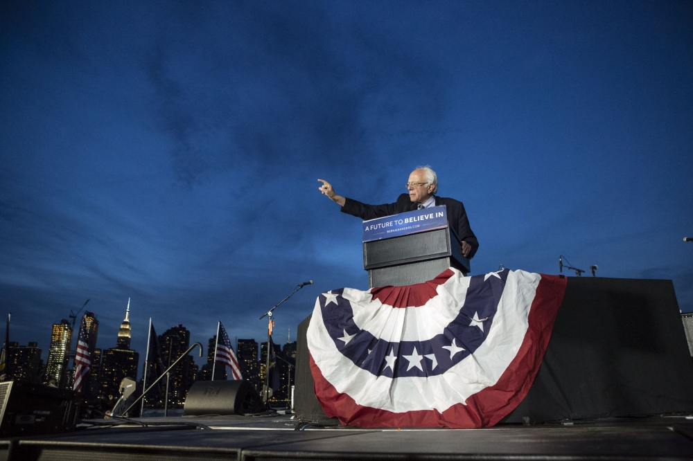 Democratic presidential candidate Bernie Sanders speaks at his last campaign rally in Long Island City, Queens, on the eve of the New York primary, April 18, 2016. in Queens Kevin C. Downs/Cosmos