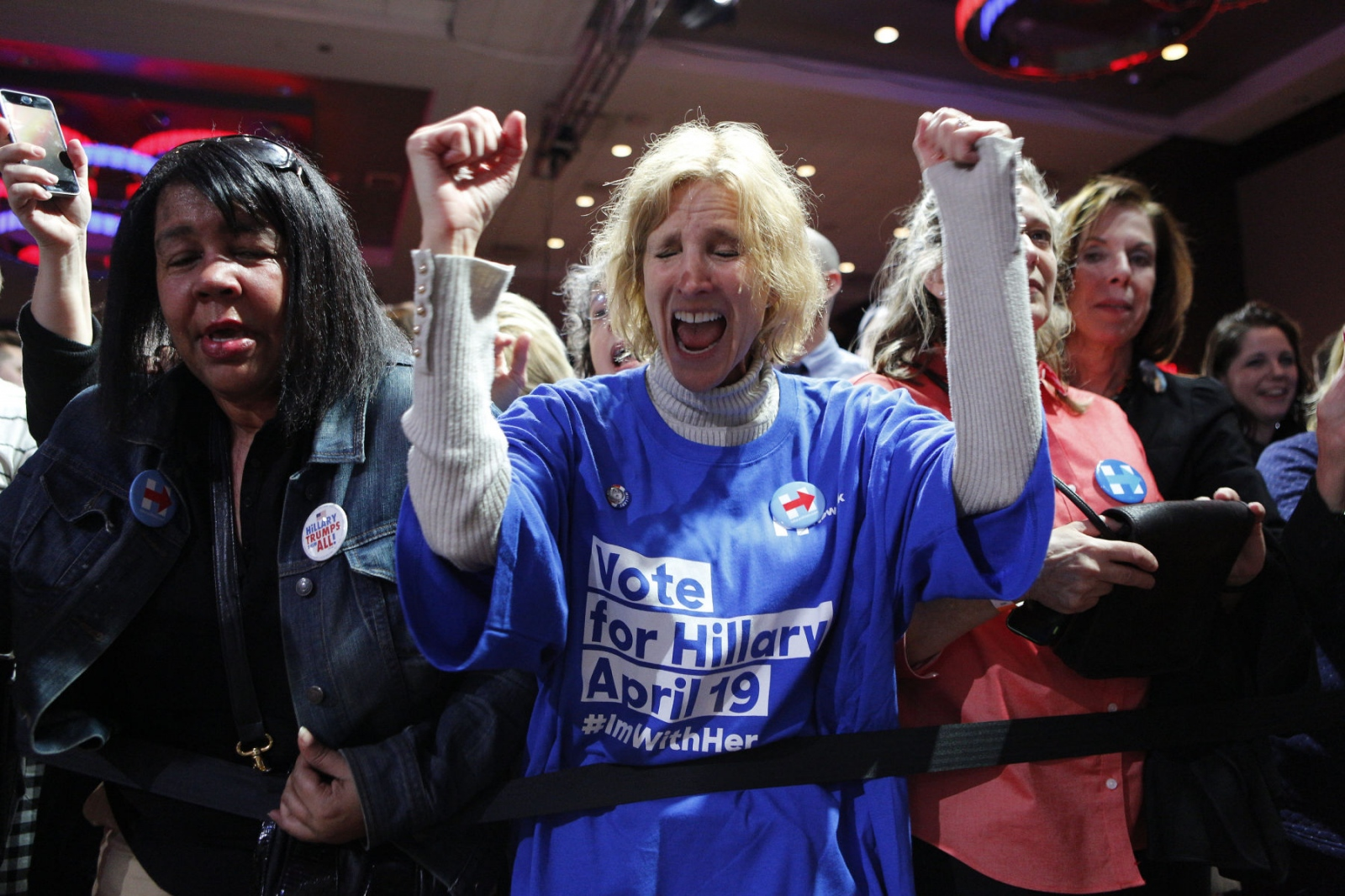 Supporters of Democratic Presidential candidate Hillary Rodham Clinton at her last rally in New York City, where she claimed victory tonight, over rival Presidential candidate Bernie Sanders with 60% of the voters over BernieԳ 40% registered voters in the New York Primaries. Kevin C. Downs/ Cosmos