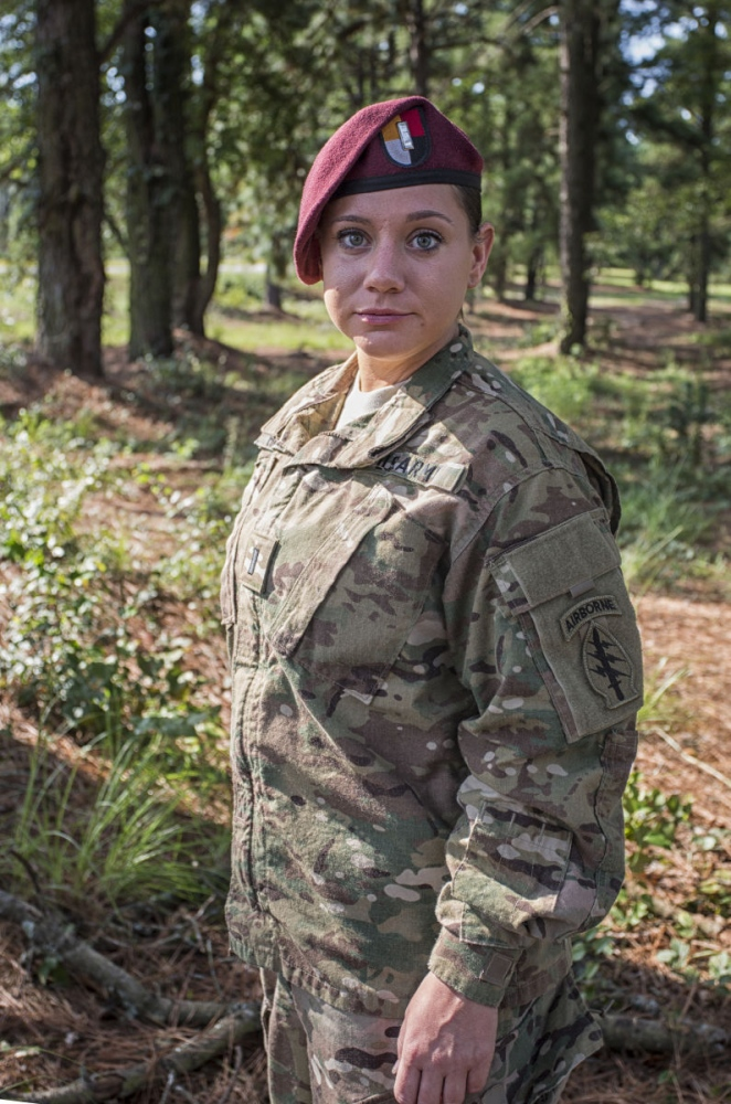 DEVIN REDDING in her US Army uniform at Fort Bragg, North Carolina. She is the 2015 Miss Rodeo North Carolina and First Lieutenant/ Finance Officer at Fort Bragg Special Forces Airborne. She spent three tours serving as a Finance Officer in both Fort Bragg and Kabul, Afghanistan. (August 22, 2015) (Kevin C. Downs/Agence Cosmos)
