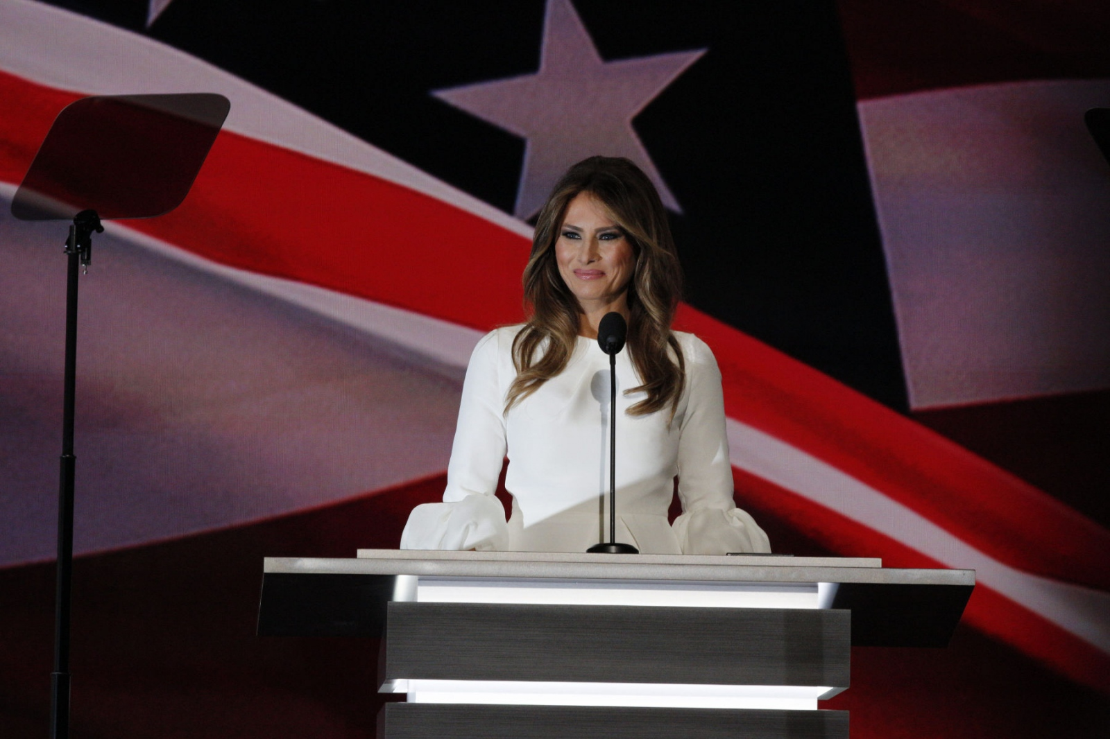 Melania Trump on stage to talk about Donald Trump her husband and to tell the crowd that her husband would be a great President of the United States at the Republican National Convention in Cleveland, Ohio. At that time, the speech plagiarised Michelle Obama's speech. July 19, 2016