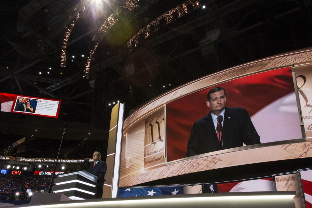 "Ted Cruz giving a speech at the Republican National Convention where he did not endorse Donald Trump but told voters to ""vote their conscience"" but later on, he endorsed Trump. July 21, 2016 (Kevin C Downs .)"