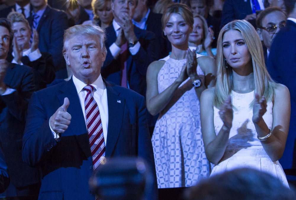 Republican Presidential nominee Donald Trump(C) and Ivanka Trump (R) after Senator Ted Cruz's speech where he did not endorse Trump at the Republican National Convention.Cleveland, Ohio July 21, 2016 (Kevin C. Downs/Agence Cosmos)