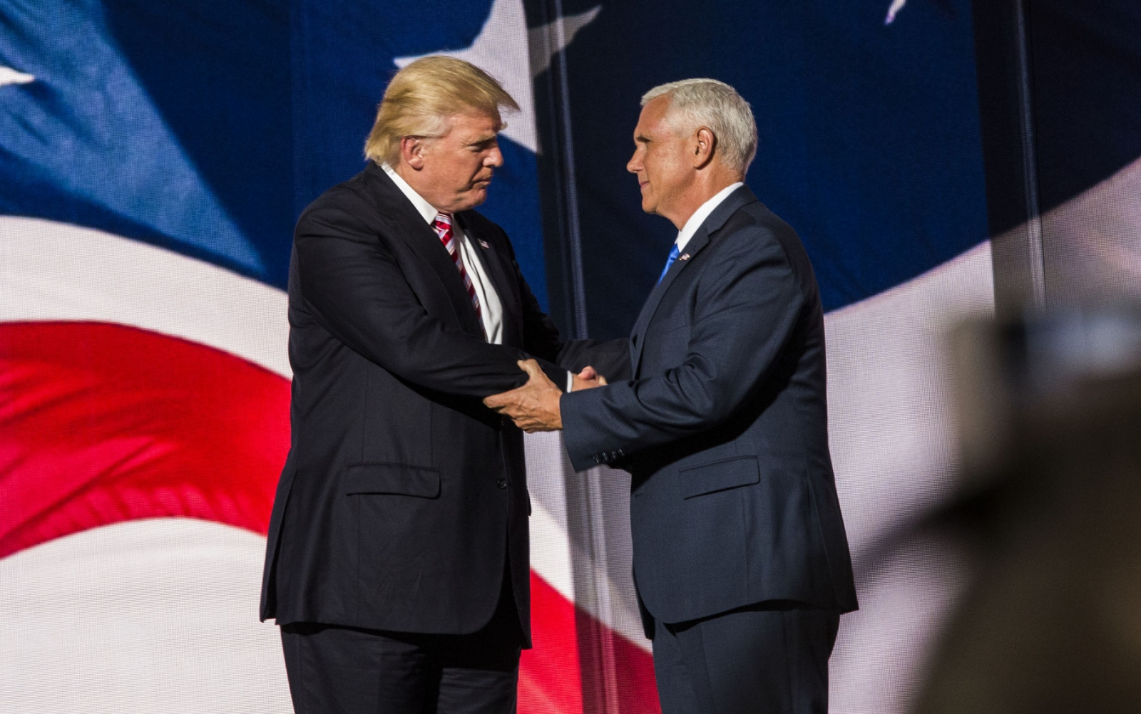 Republican Presidential nominee Donald Trump with his Republican Vice Presidential nominee Mike Pence at the Republican National Convention. July 21, 2016 (Kevin C Downs).