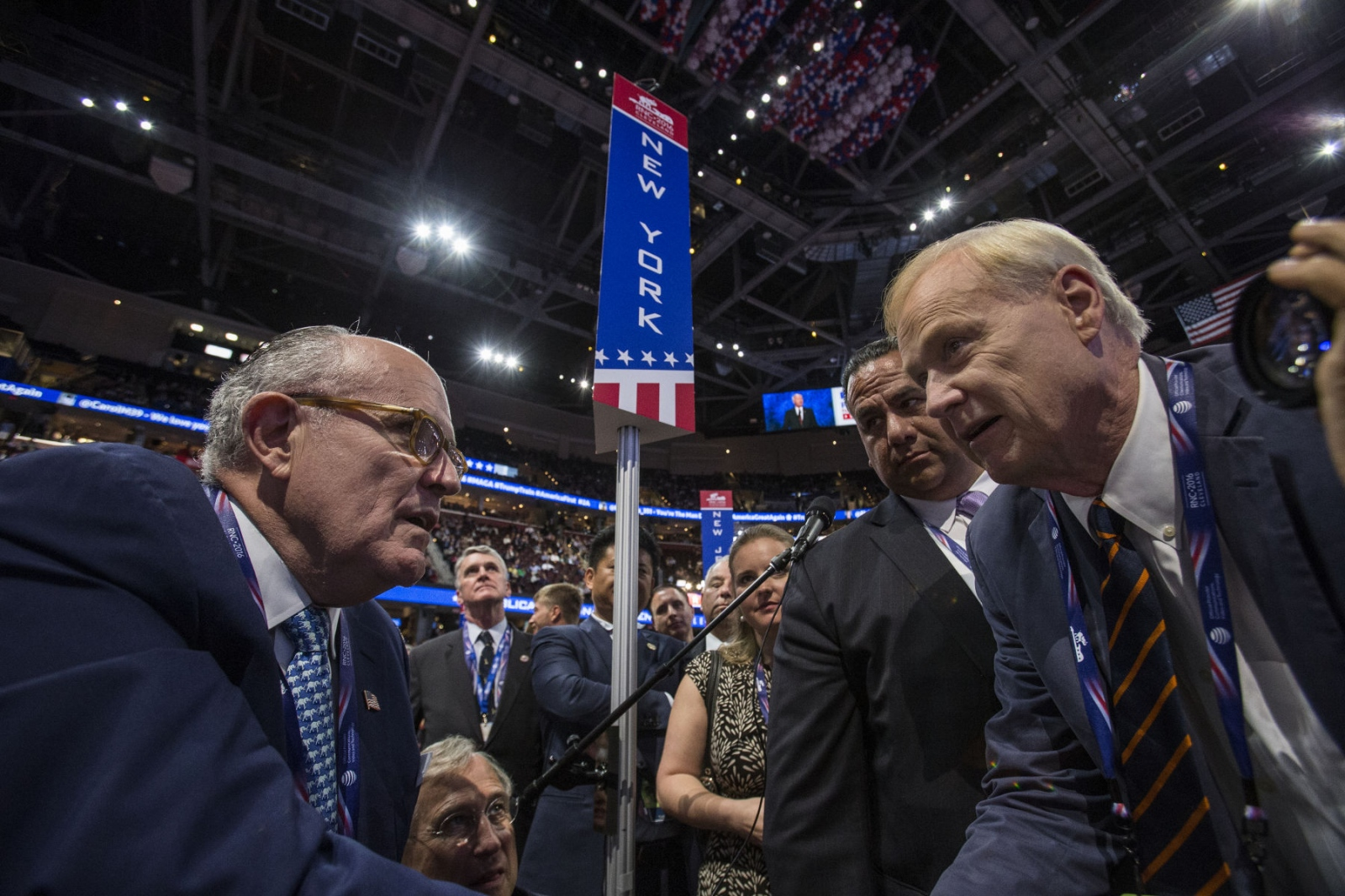 Former NYC Mayor, Rudy Giuliani talking to Chris Matthews of MSNBC, after Giuliani gave his Islamophobic speech at the Republican National Convention. July 20, 2016 (Kevin C Downs).