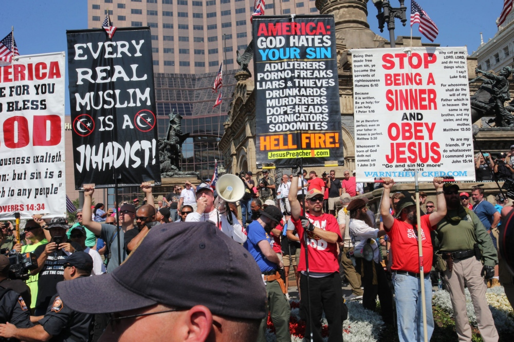 Members of Westboro Baptist Church protest at the Republican National Convention. July 20, 2016