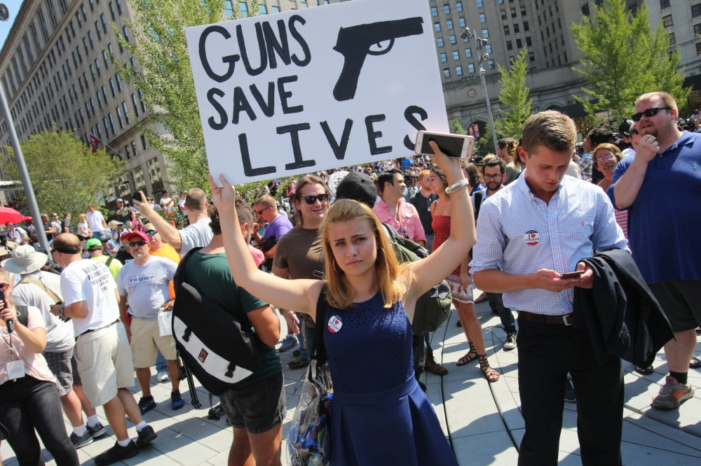 Young republicans protest for gun rights at the Public Square in Cleveland, Ohio, The Public Square is a plaza close to the Republican National Convention. July 20, 2016