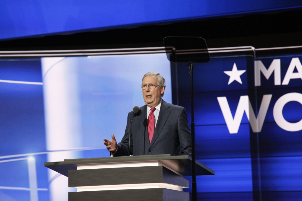 Republican Senate Majority Leader Mitch McConnell gives a speech at the Republican National Convention. July 17, 2016 (Kevin C Downs).
