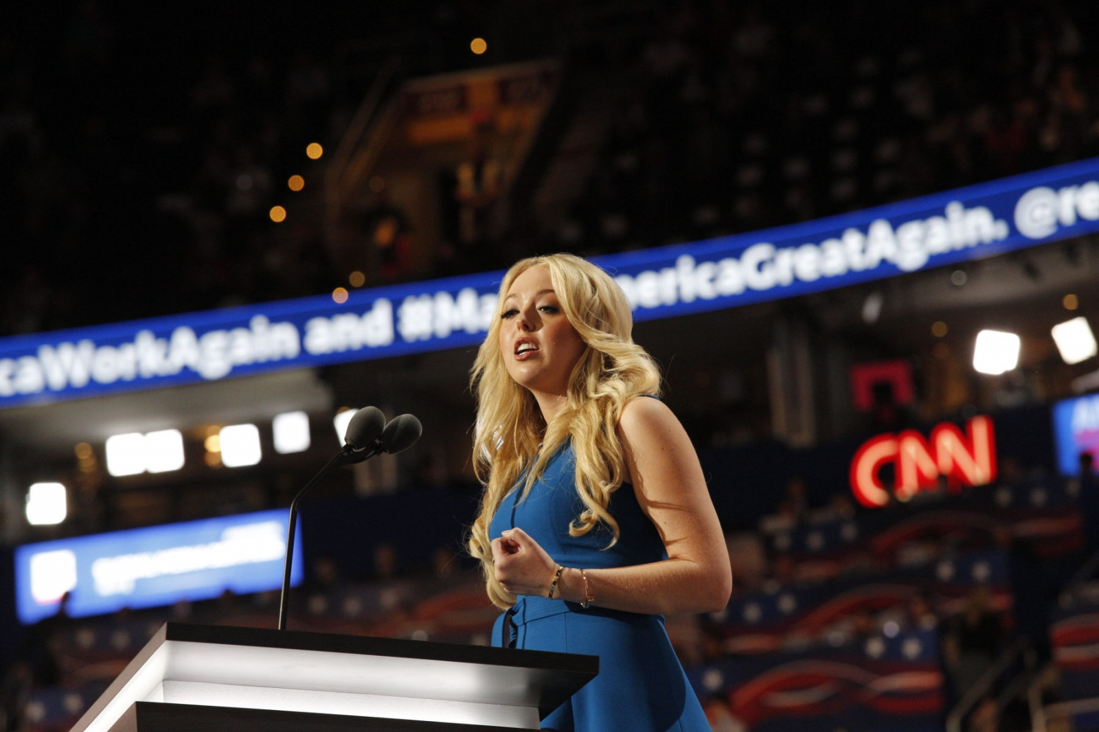Tiffany Trump give a speech about her father's virtues at the Republican National Convention. July 20, 2016 (Kevin C Downs).