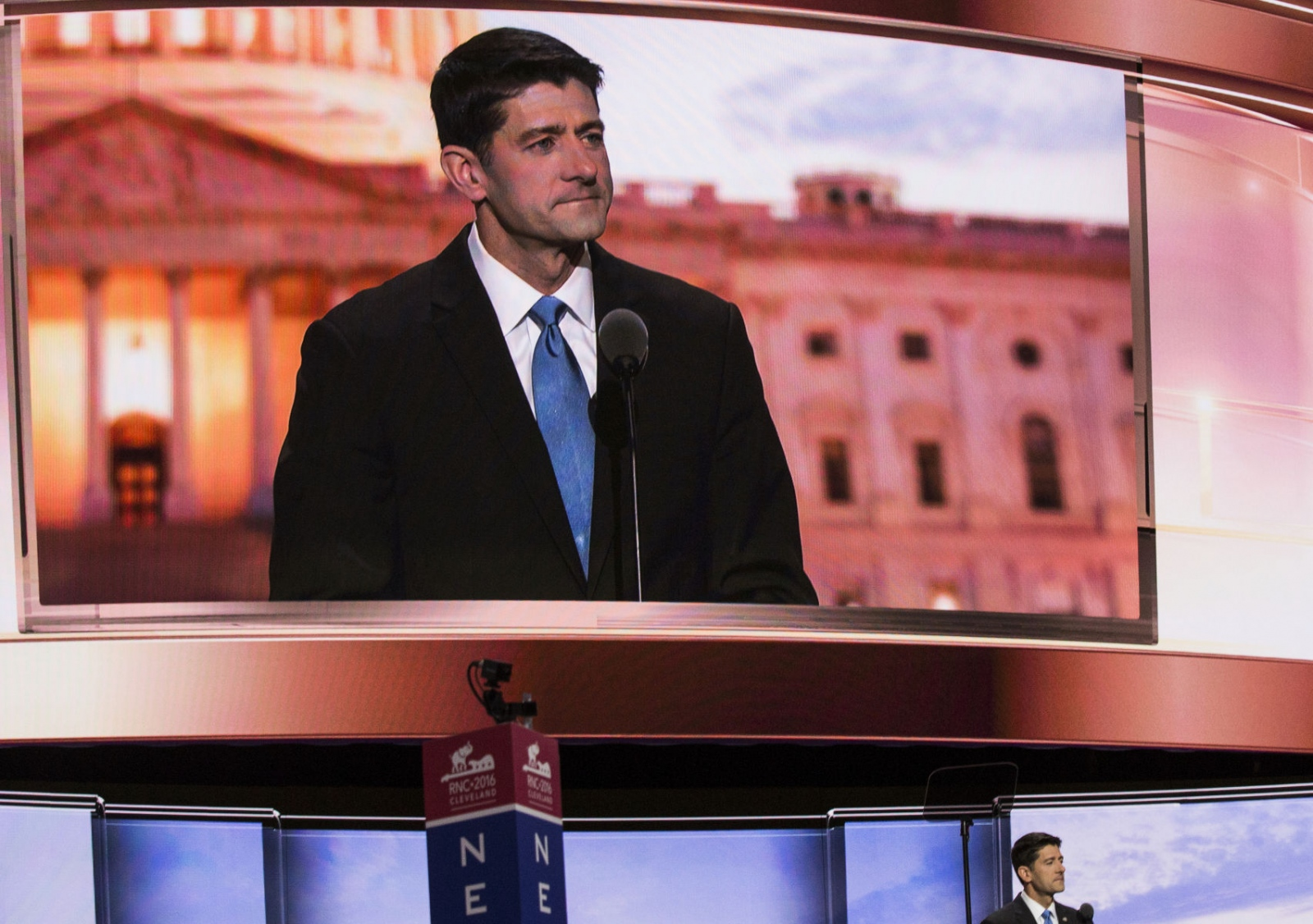 Speaker of the House of Representatives Paul Ryan at the Republican National Convention, pledging his support to Donald Trump. July 20, 2016 (Kevin C Downs).