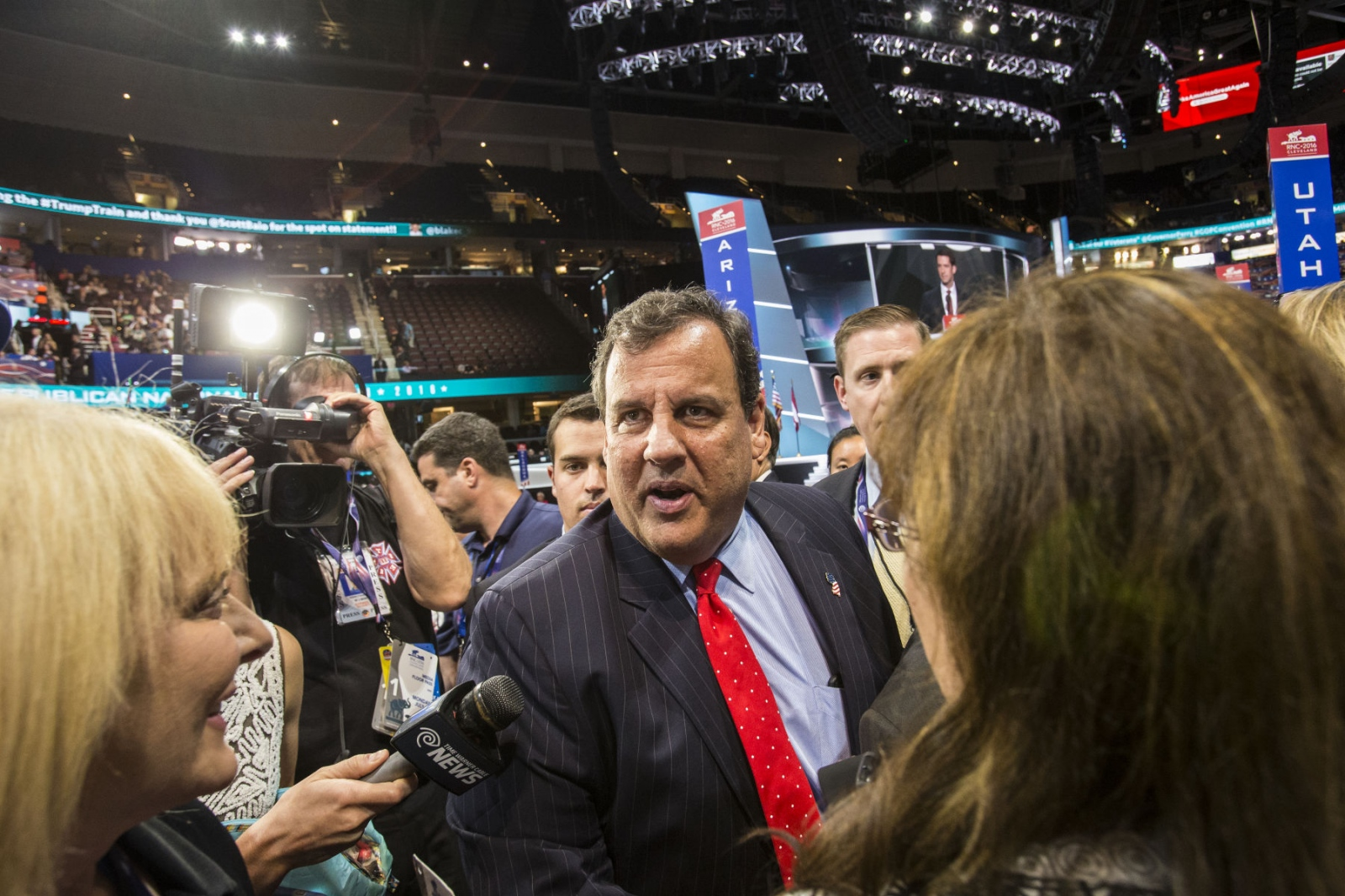 Governor Chris Christie of New Jersey speaks to media after his speech at the Republican National Convention in Cleveland, Ohio, where he endorsed Donald Trump for President of the United States. July 19, 2016 (Kevin C. Downs/Cosmos)