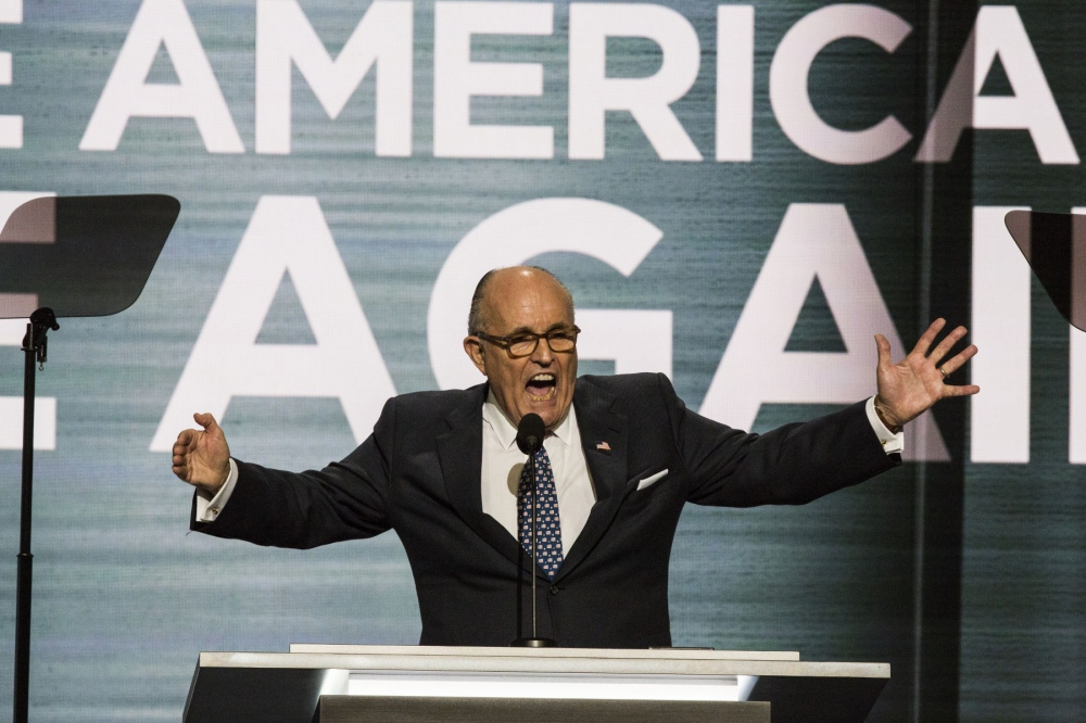 Former NYC mayor, Rudy Giuliani giving a fiery speech giving an anti-Muslim speech at the Republican National Convention in Cleveland, Ohio. July 19, 2016