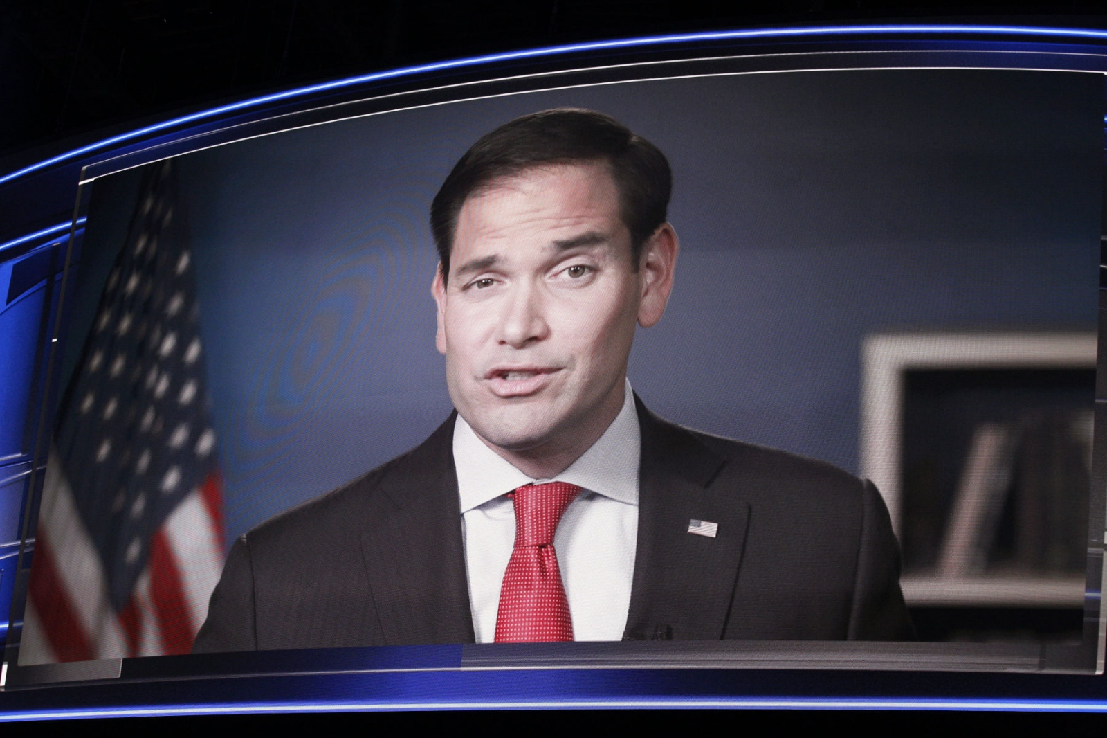 Marco Rubio appeared via satellite via Florida to give his support to Donald Trump at the Republican National Convention. July 17, 2016 (Kevin C Downs).