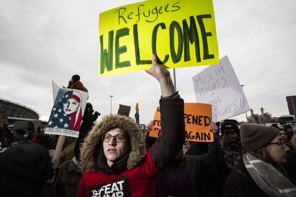 Thousands of protesters came to JFK to protest Trump's Muslim ban and to show support for people still being held inside the airport and not being allowed to leave to visit or go home to their relatives and friends. John F. Kennedy Airport, Queens. January 28, 2017