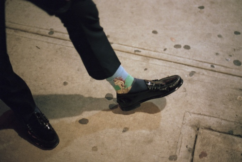 Venus in the halfshell on Peter's socks, New York, NY