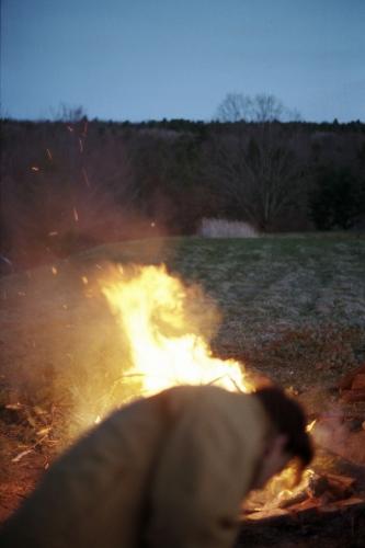 Jesse by the bonfire, Durham, NY