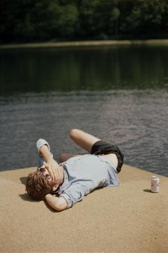 Denis asleep on the dock, Roscoe, NY