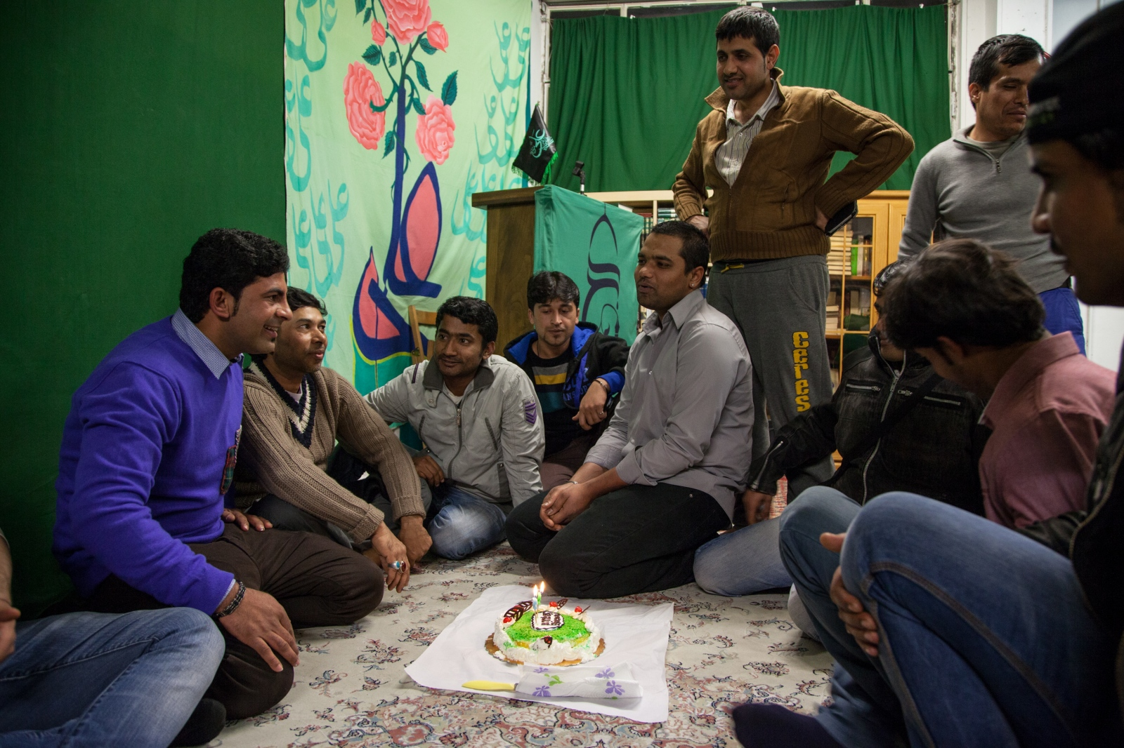 Shia Muslim gather for a birthday celebration at the Islamic Centre Imam Mahdi, near Furio Camillo, a neighborhood in the eastern part of Rome. This is the only Shia mosque in the city.