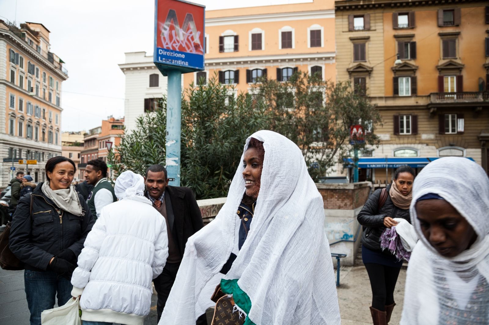 Members of the Orthodox Ethiopian Tewahedo Church in Rione Monti, downtown Rome, arrive at the church for Sunday morning celebrations.