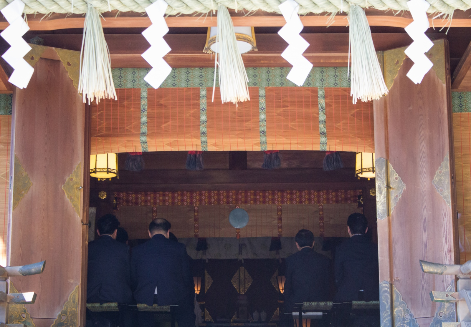 Japan, 2017 Salarymen Visiting a Shrine at their Lunch Break in Tokyo
