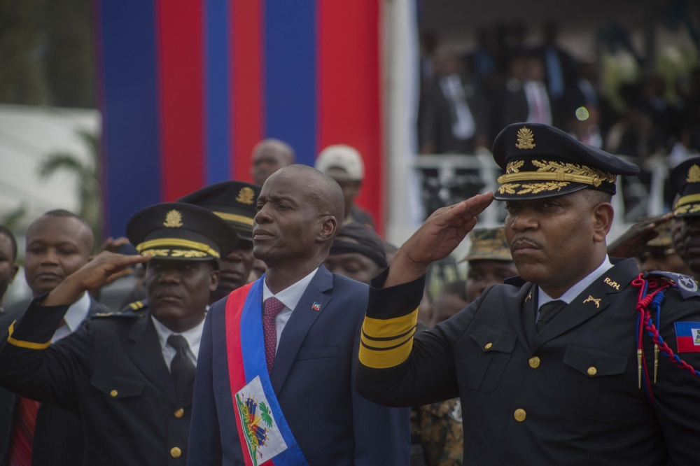 President Jovenel Moise accompanied by his wife Martine Moise at the National Palace at his inauguration
