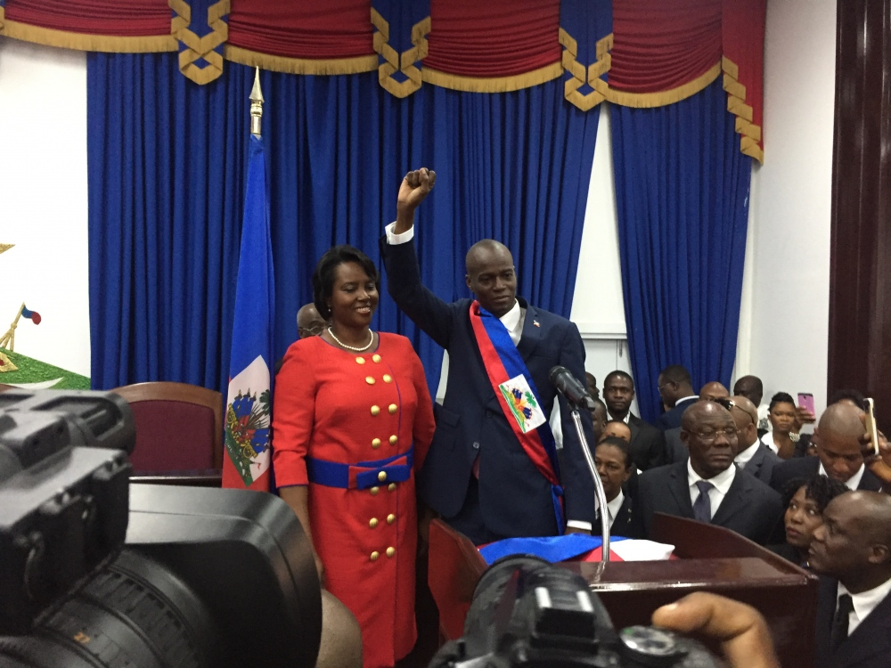 President Jovenel Moise in the Haitian parliament after taking the oath.