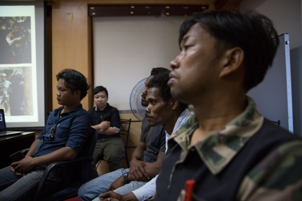 A Maniq man called Yaaw attends a meeting inside the Trang city Municipal Hall. The meeting was organised during the research trip by The National Human RIghts Commission of Thailand who were discussing the process of the Maniq obtaining citizenship. Trang - March 2017