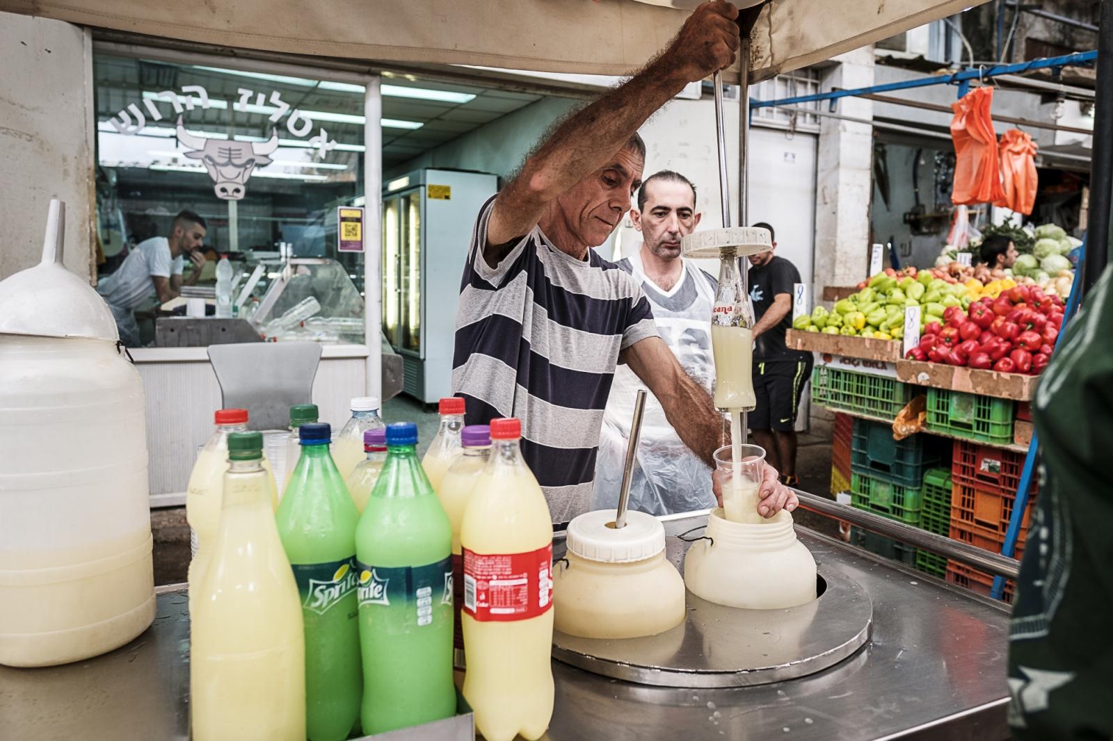 Ramla  רַמְלָה   الرملة  Fresh lemonade at the Limonero's booth, Ramla Market (shuk/al-sooq)
