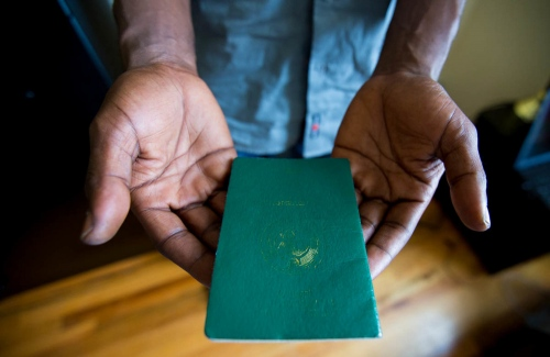 This passport belongs to a 38-year-old married father of two who was an LGBT activist living in Nigeria before he sought assistance from the Housing Works asylum project. Before he left Nigeria he worked in Abuja with a Human rights organization that focused on providing health services to the LGBT community.