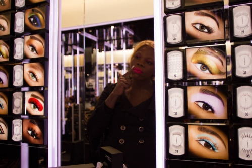 Brielle, 25, at a makeup store in Times Square, New York, 2013.
