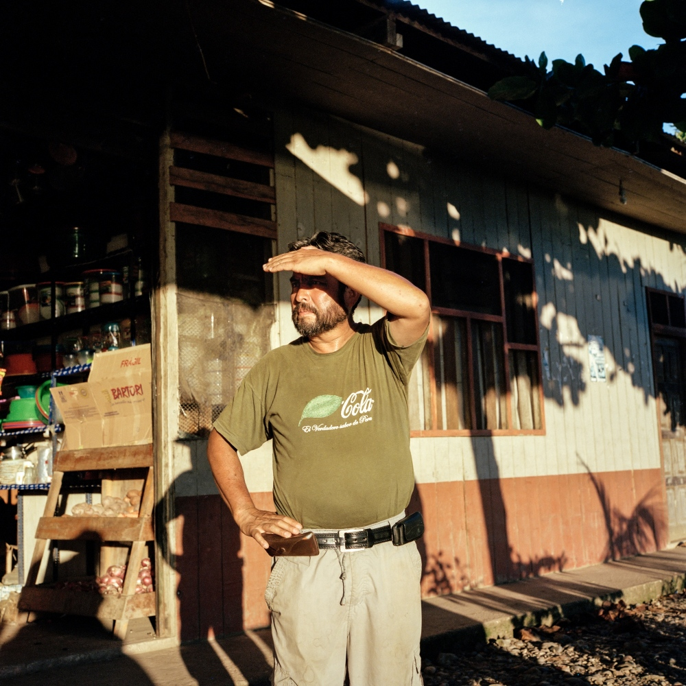 Waldo Maldonado, who works for the state's isolated tribes team, is seen in the town of Boca Manu, the capital of the municipality of Fitzcarald.