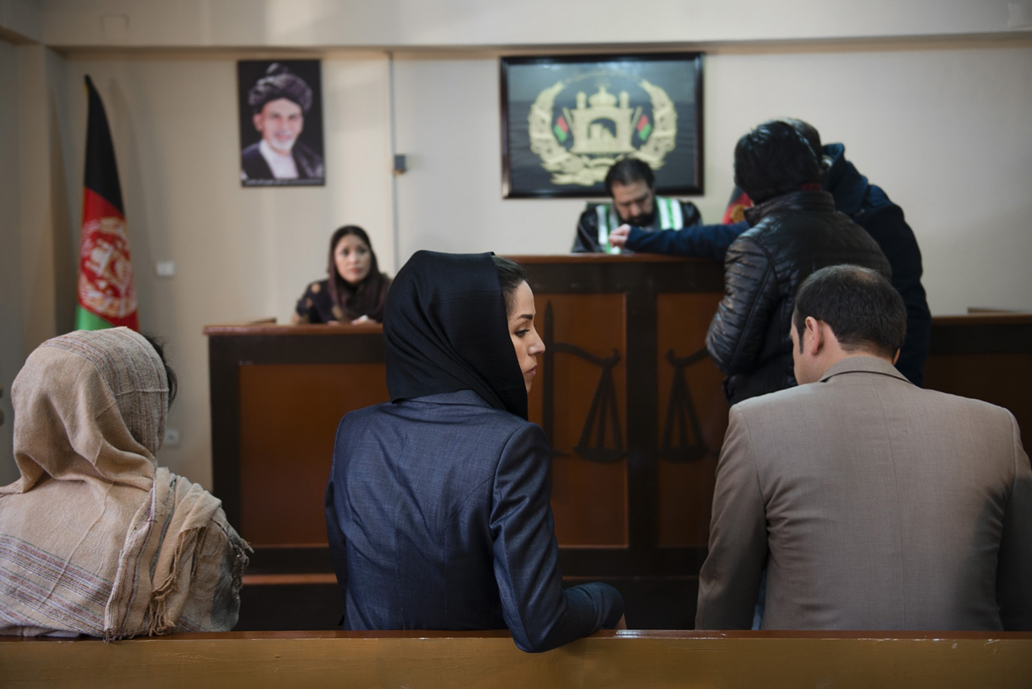 "KABUL, AFGHANISTAN | 2015-03-01 | The young cast on set at work behind the scenes of ""Shereen's Law"". ""Shereen's Law"", a disputed TV series which was due to be aired in early 2016 on Afghan TV, tells the story of a 36-year-old single mom who brings up three children on her own while forging a career as a clerk at a court in Kabul. While the main character, Shereen, fights corruption, harassment, and rape, decision makers at MOBY Group (the producing company) decided that the story is too controversial and may have back lashes. The production was suspended in summer 2015 and most of the key people including the director and screenwriter were dismissed."