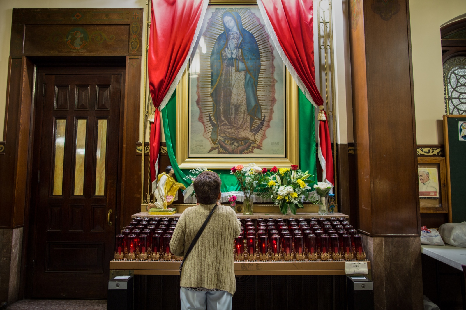 Gisela is a devotee of the Virgin of Guadalupe, every Saturday she goes to St. Michael´s church on 44th. St. to Mass. Besides she used to be part of a prayer group at the same church. Sunset Park, Brooklyn, New York, 2016.