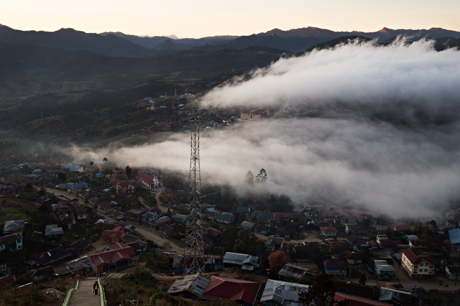 Mist settles over the city of Hakha, in Chin State.