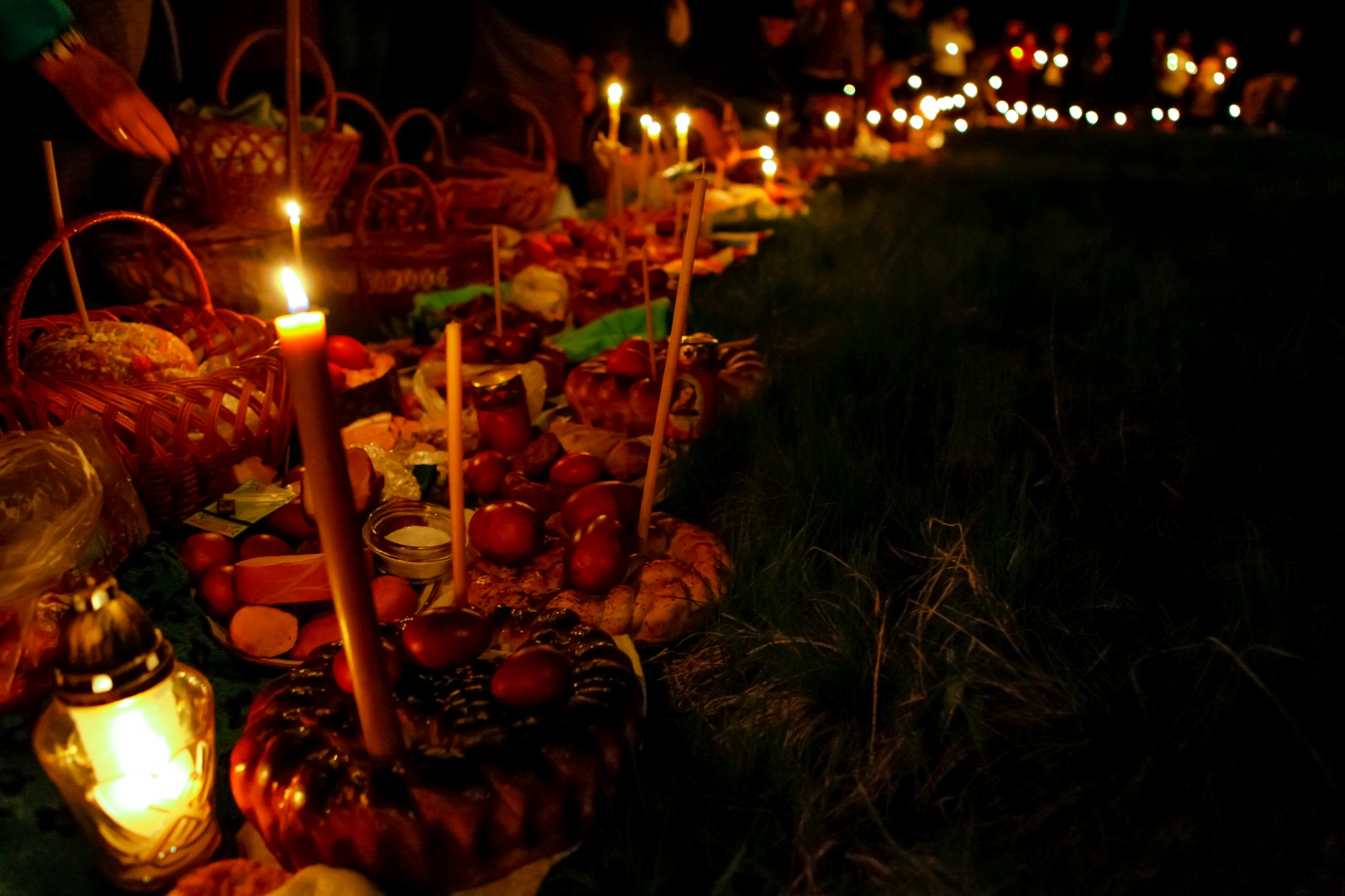 Moldovan congregates wait early Easter morning,...