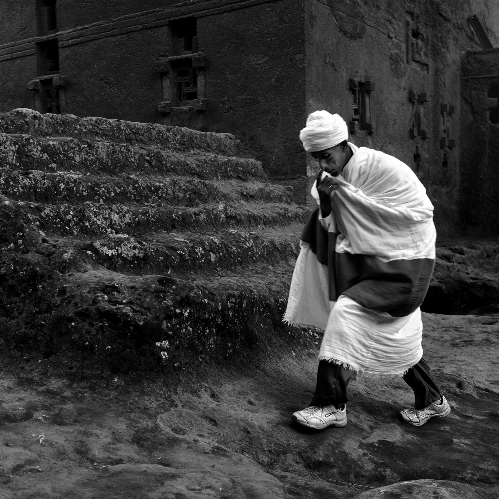 Priest in Lalibela, Ethiopia, during the Meskel...