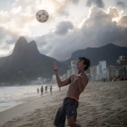 Soccer at sunset at Ipanema Beach in Rio de Janeiro, Brazil. March 26, 2017.