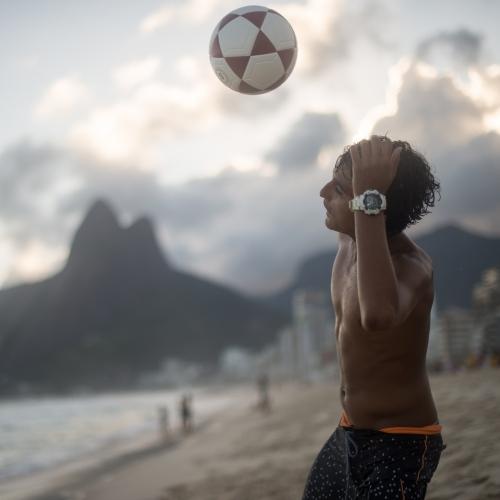 Soccer at sunset at Ipanema Beach in Rio de Janeiro, Brazil. March 26, 2017.