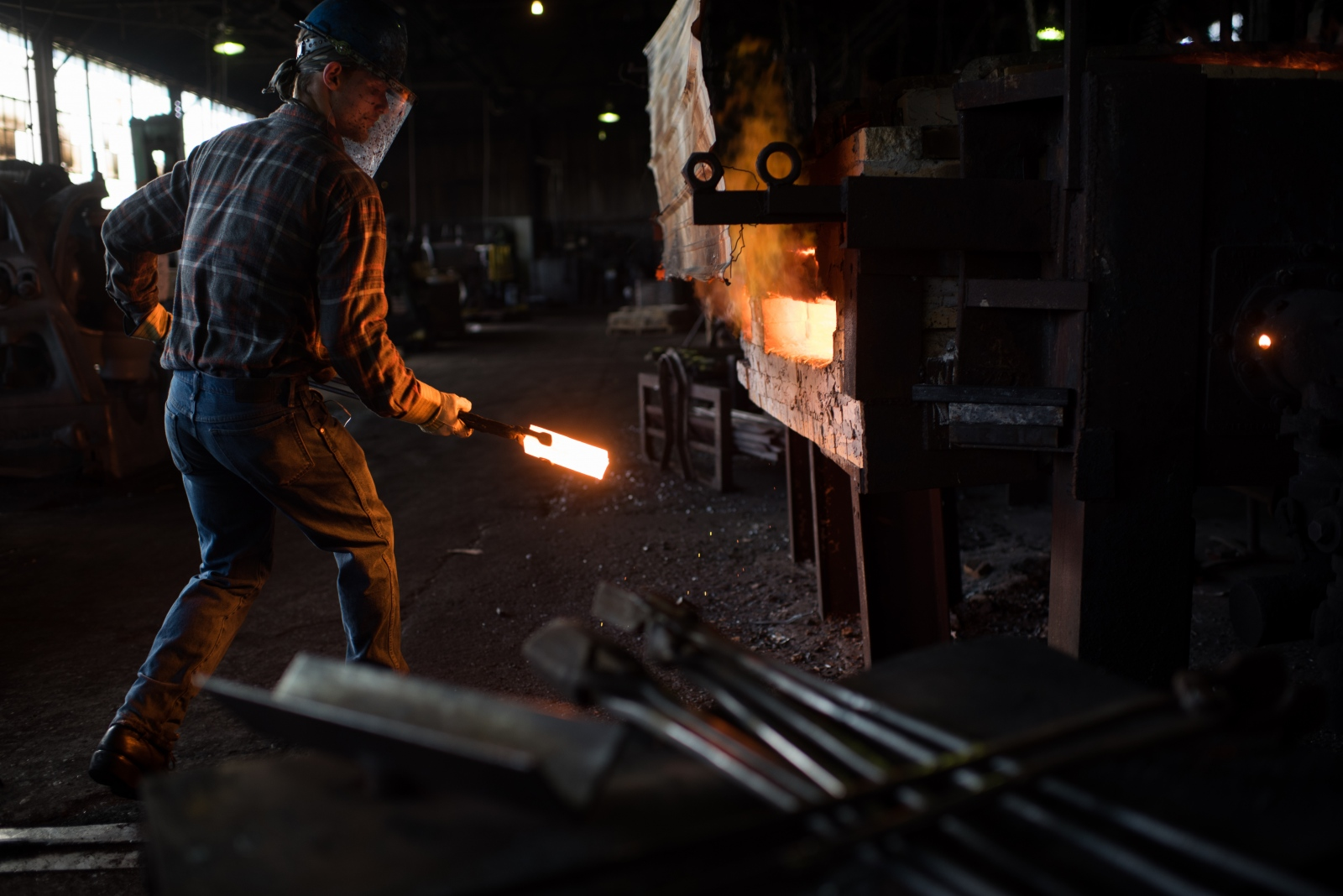 At the Warwood Tool Company, William Davenport's movements appear as a hypnotic dance in the face of the billowing heat of the slot furnace. He pulls a steel billet from a stack, swings toward the waiting furnace and deposits it. Seconds later, after gauging the color—now white like some celestial object—he clenches and delivers it to the forging stage. Repeat. The company—which was founded in 1854 and supplies tools to the railroad, mining and construction industries—is one of Wheeling's few remaining functioning remnants of its significant 19th-century industrial age. Competition from cheaper foreign-made products and the contraction of the steel industry has placed pressure on the company.