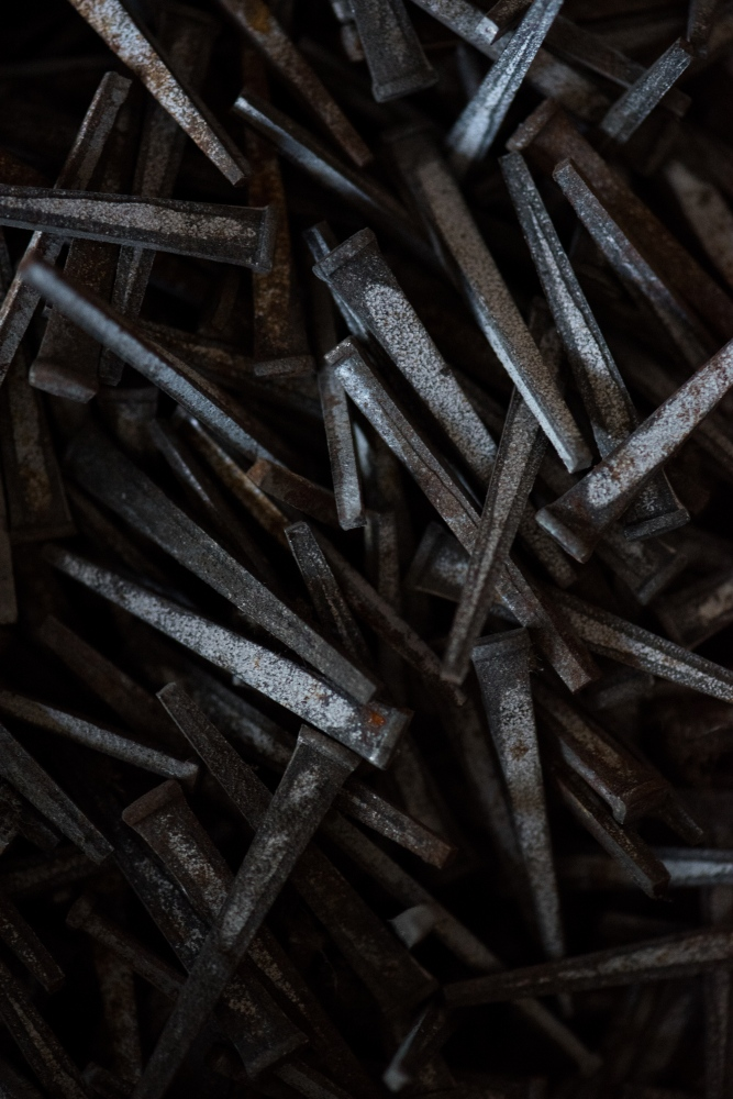 "A box of cut nails left behind at the La Belle Cut Nail Plant after its closure. In the 19th century, Wheeling was known as ""Nail City"" and was the nail capital of the world."