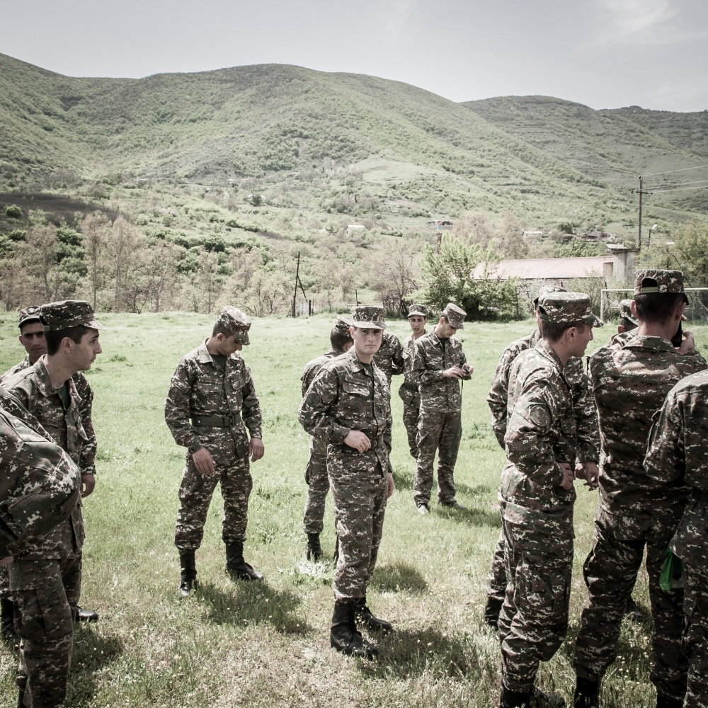 Young soldiers organize their further plans in Hadrowt village, next to the Iranian border.