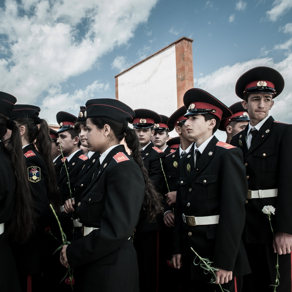 Police young cadets observe the Armenian Genocide Remembrance Day.