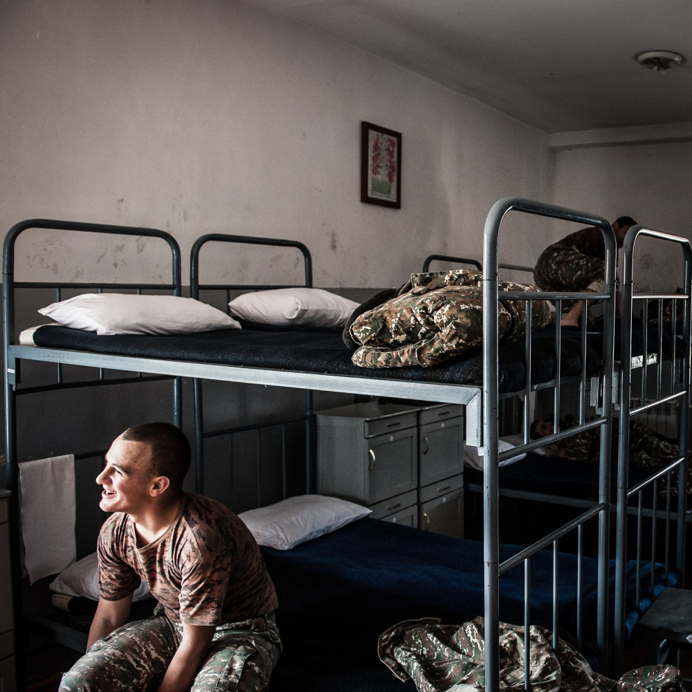 A young cadet rests in the dorms of the military high-school in Stepanakert.