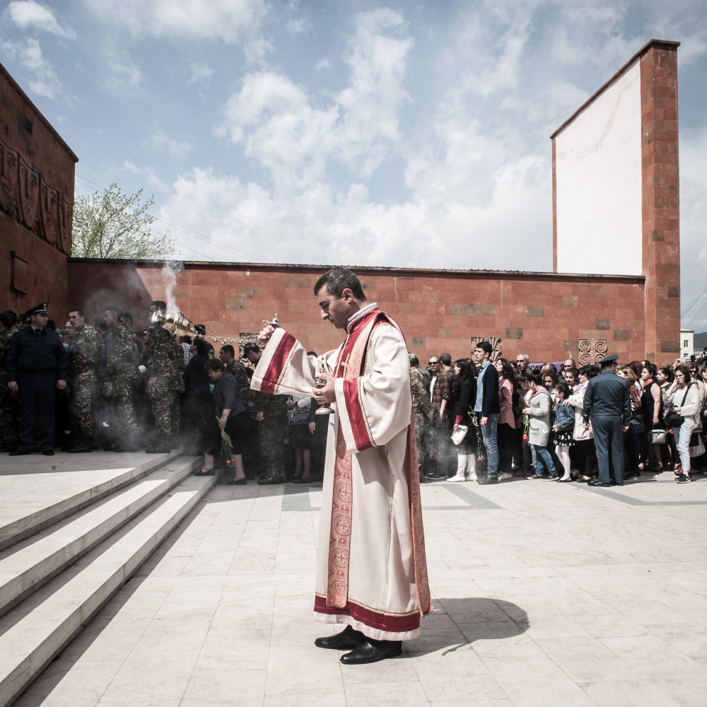 A priest during the celebrations for the Armenian Genocide Remembrance Day.