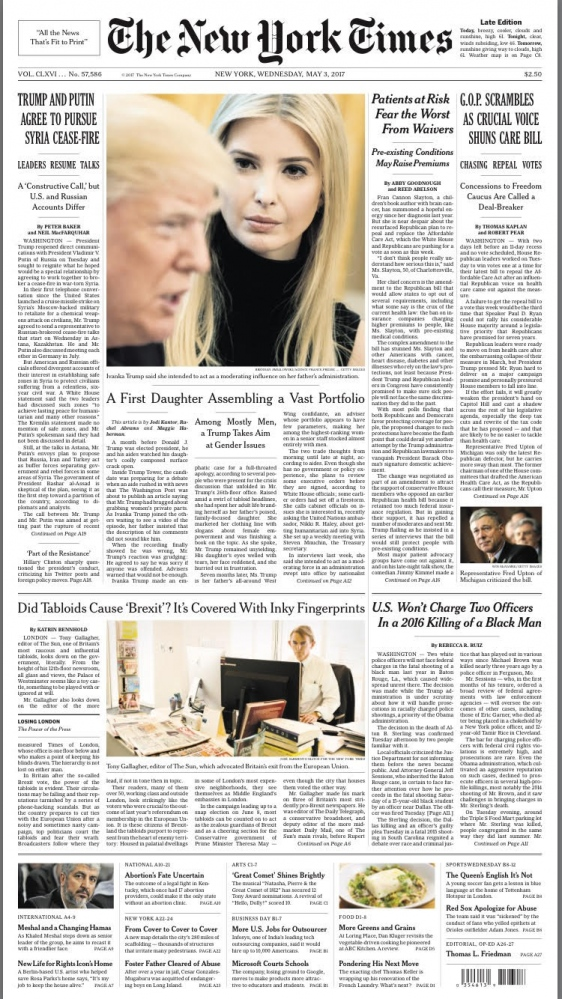 One photo at the Front page American edition of The NYT. 5th May 2017. Story assigned about how Tabloids influeced Brexit.  https://www.nytimes.com/2017/05/02/world/europe/london-tabloids-brexit.html