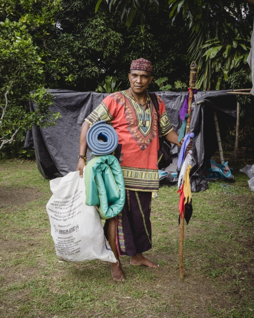 Traditional medicine man and 'yagecero' Argemiro, prepares his personal belongings for his 7th 'Hamblecha,' or 'Vision Quest'.