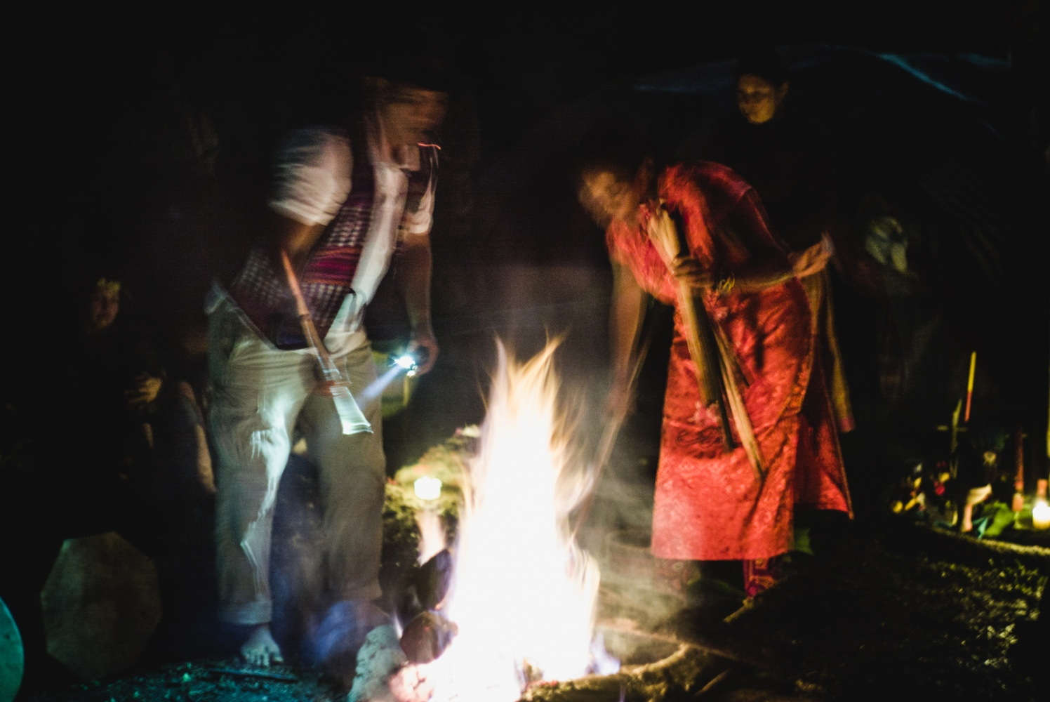 Visionaries offer their prayers to the sacred fire during the Closing Ceremony of the Vision Quest.
