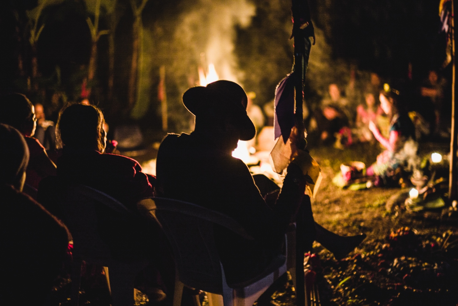 Visionaries and Supports gather around the sacred fire to bear witness to the prayers the questers offer up to the sacred fire during the Vision Quest.